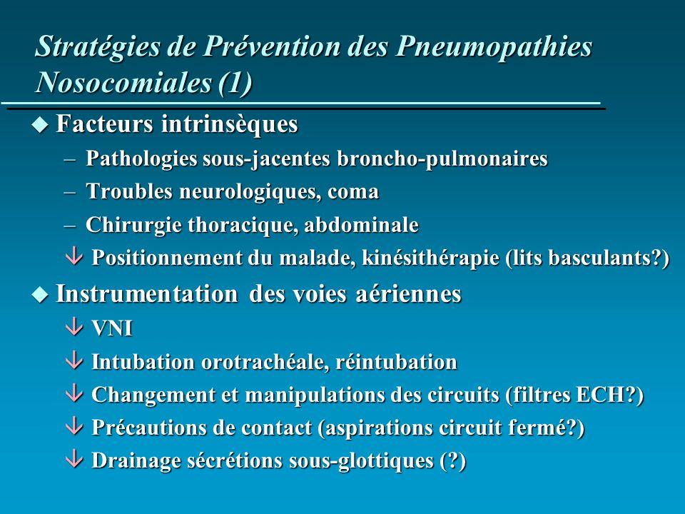 Stratégies de Prévention des Pneumopathies Nosocomiales (1)
