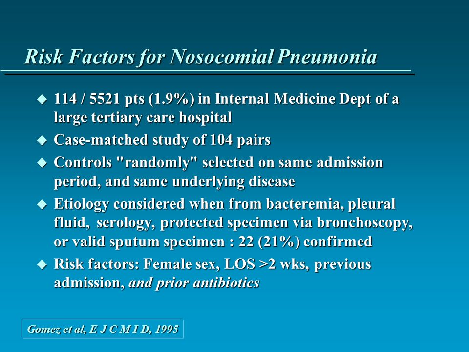 Risk Factors for Nosocomial Pneumonia