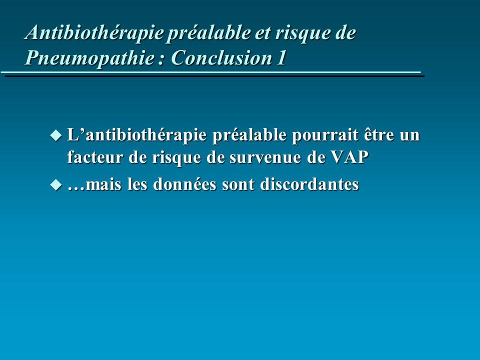 Antibiothérapie préalable et risque de Pneumopathie : Conclusion 1