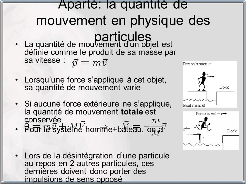 Aparté: la quantité de mouvement en physique des particules