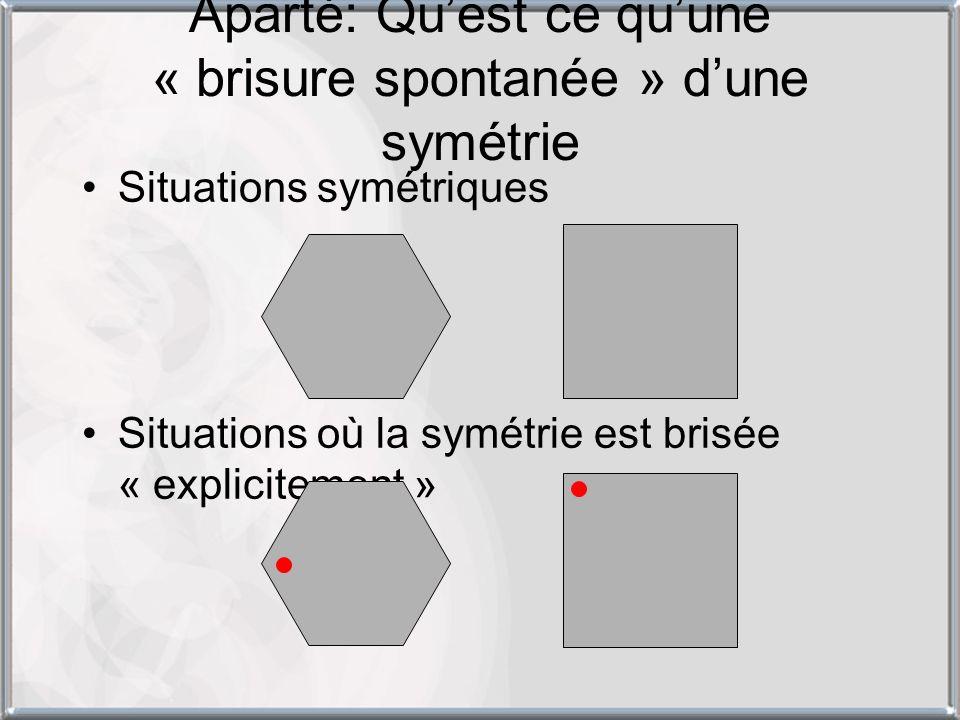 Aparté: Qu'est ce qu'une « brisure spontanée » d'une symétrie