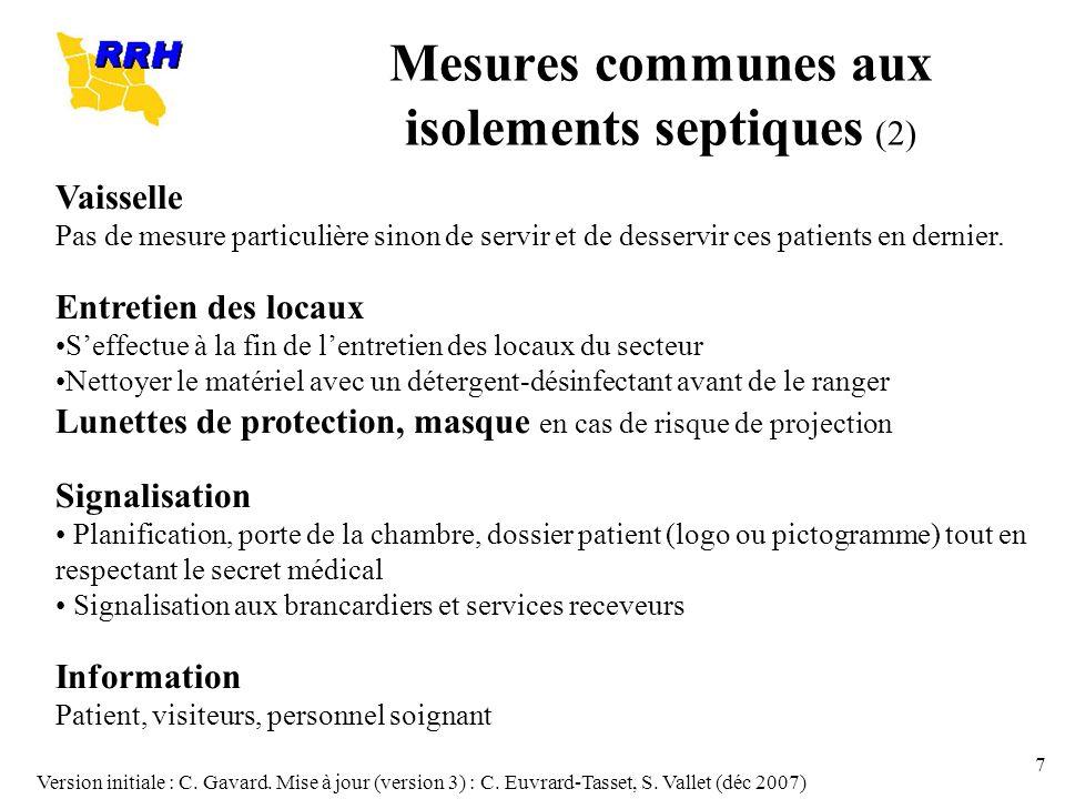 Mesures communes aux isolements septiques (2)