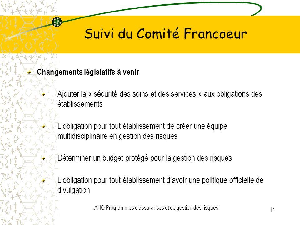 Suivi du Comité Francoeur