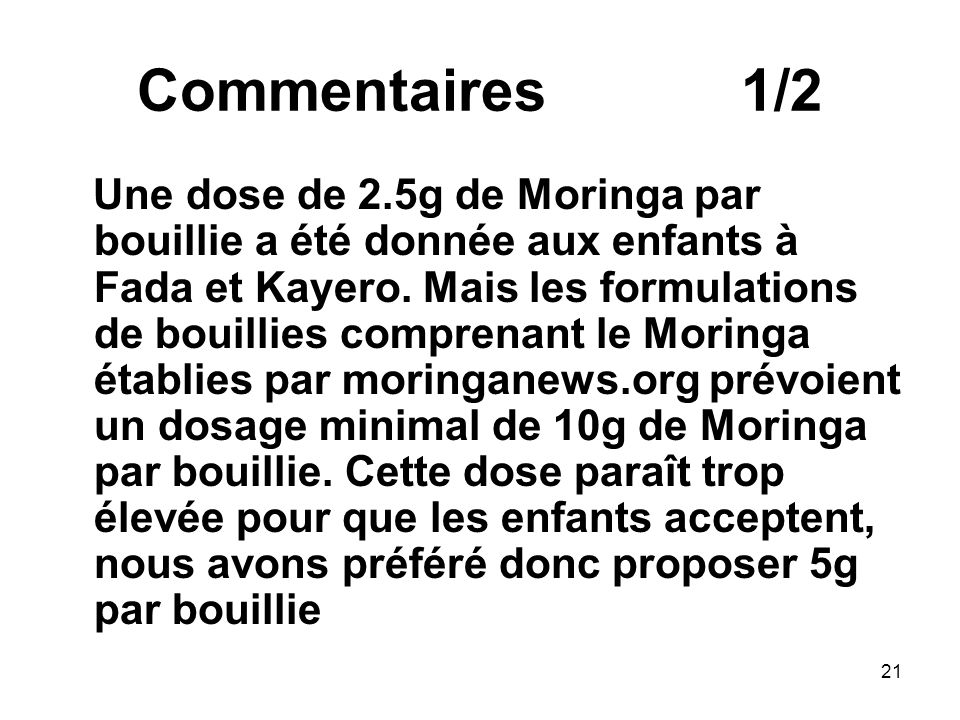 Commentaires 1/2