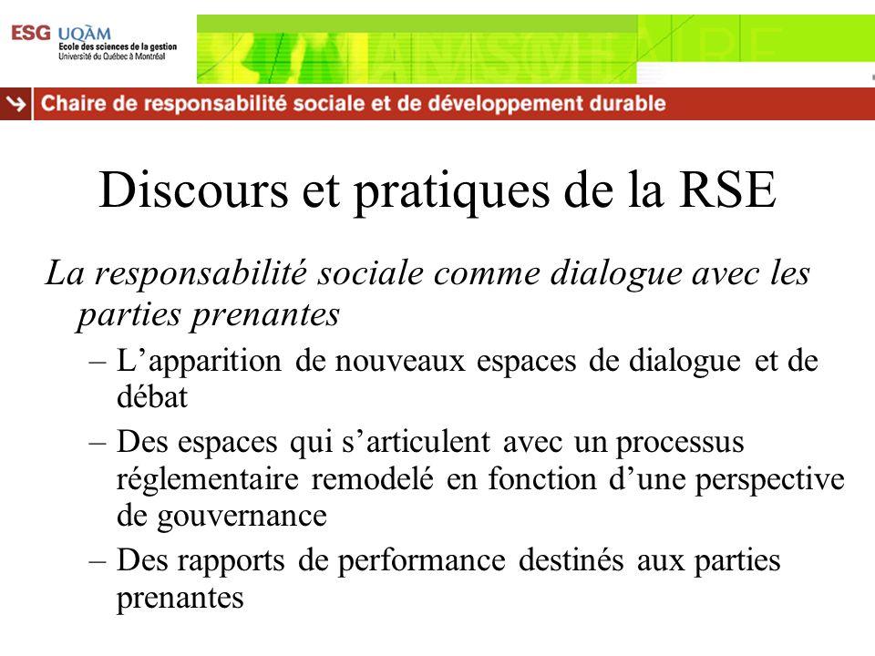 Discours et pratiques de la RSE