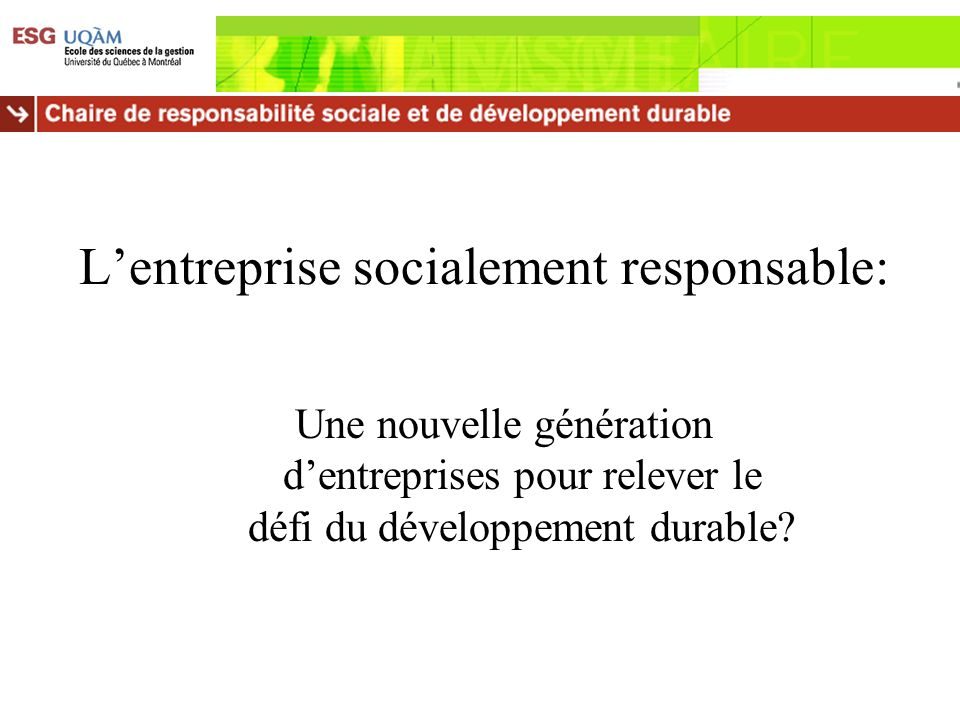 L'entreprise socialement responsable:
