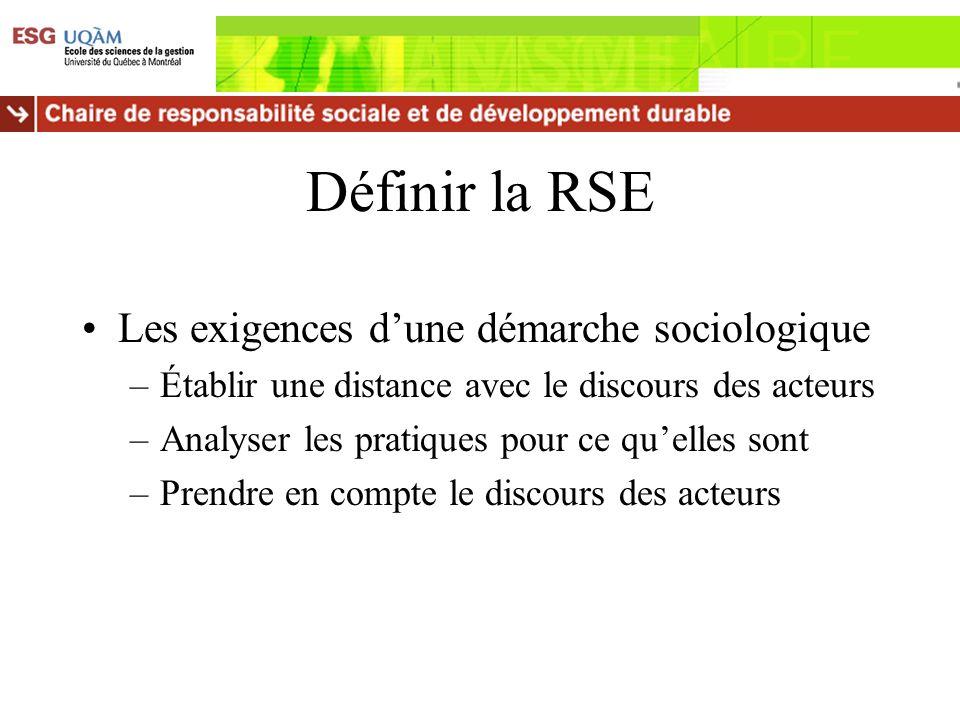 Définir la RSE Les exigences d'une démarche sociologique
