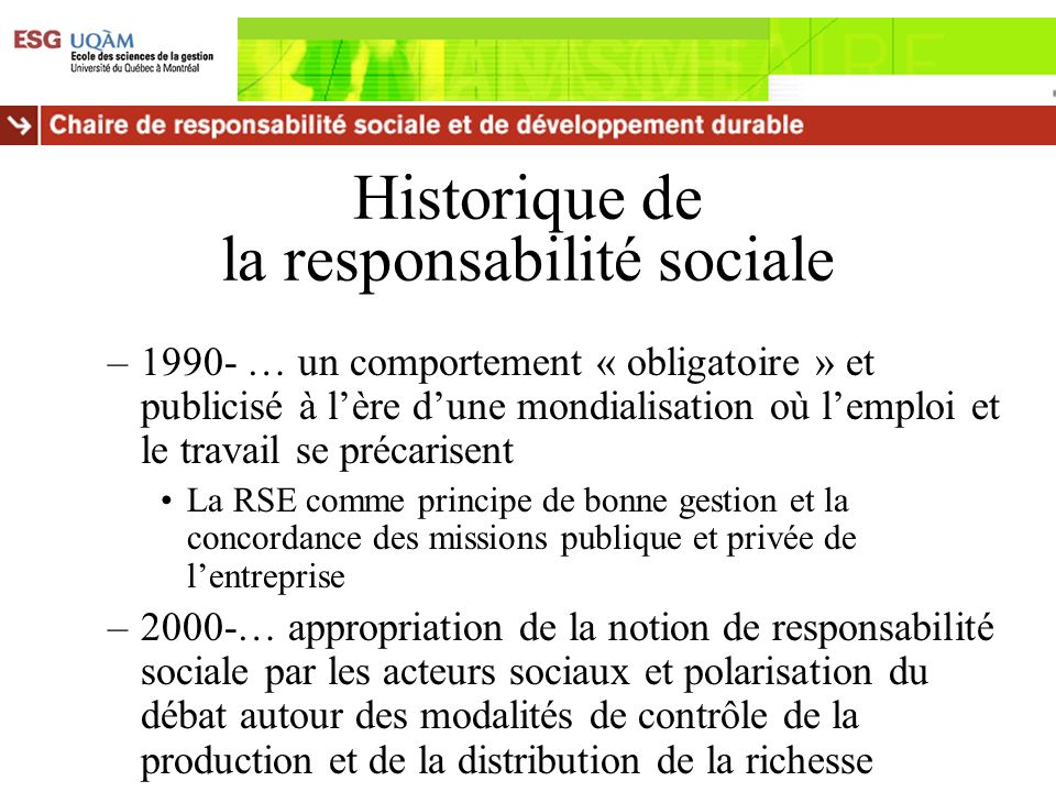 Historique de la responsabilité sociale
