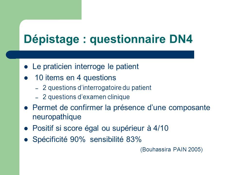 Dépistage : questionnaire DN4