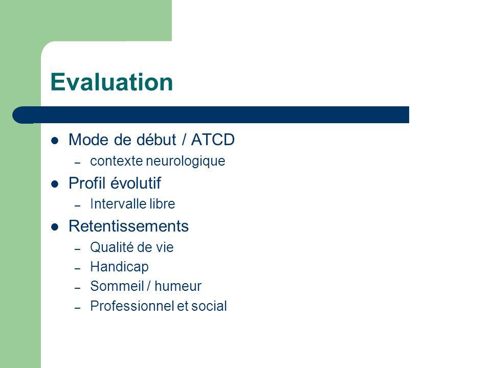 Evaluation Mode de début / ATCD Profil évolutif Retentissements