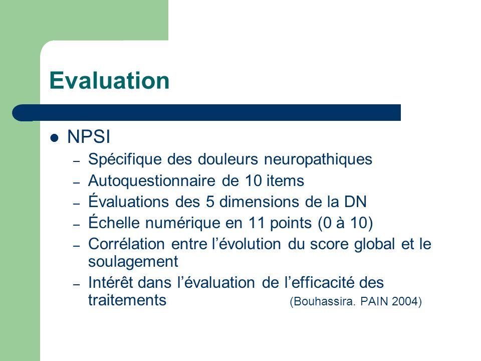 Evaluation NPSI Spécifique des douleurs neuropathiques