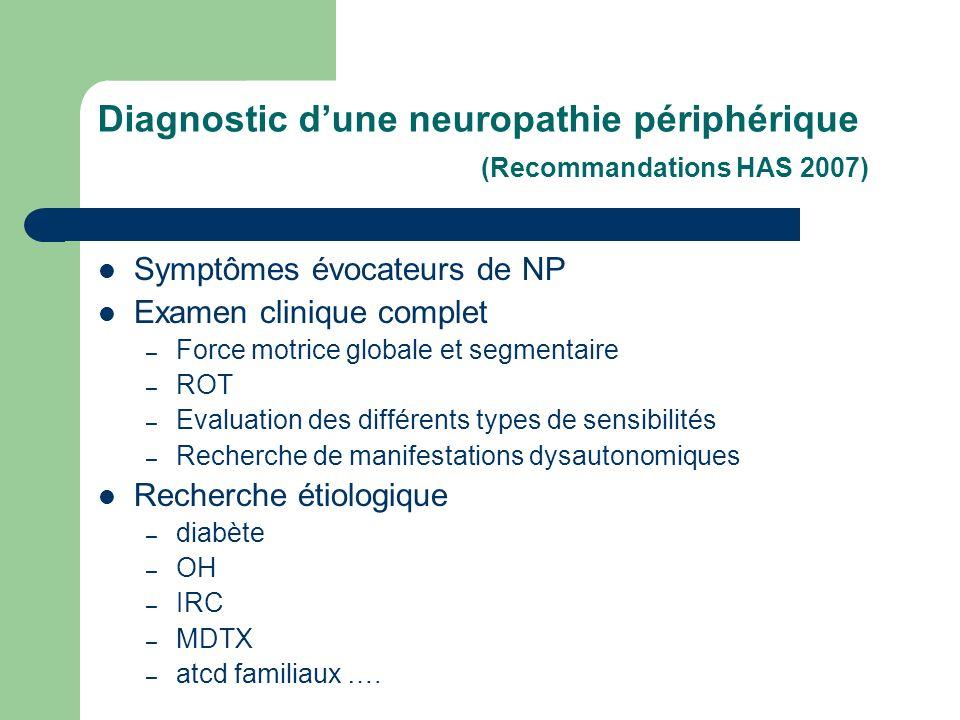 Diagnostic d'une neuropathie périphérique (Recommandations HAS 2007)