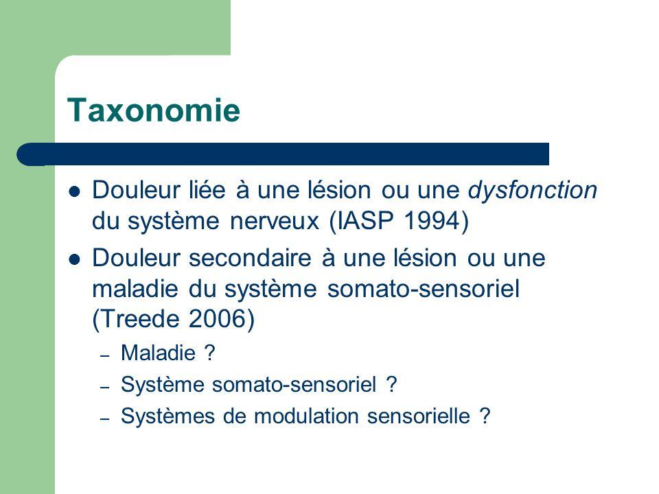 TaxonomieDouleur liée à une lésion ou une dysfonction du système nerveux (IASP 1994)