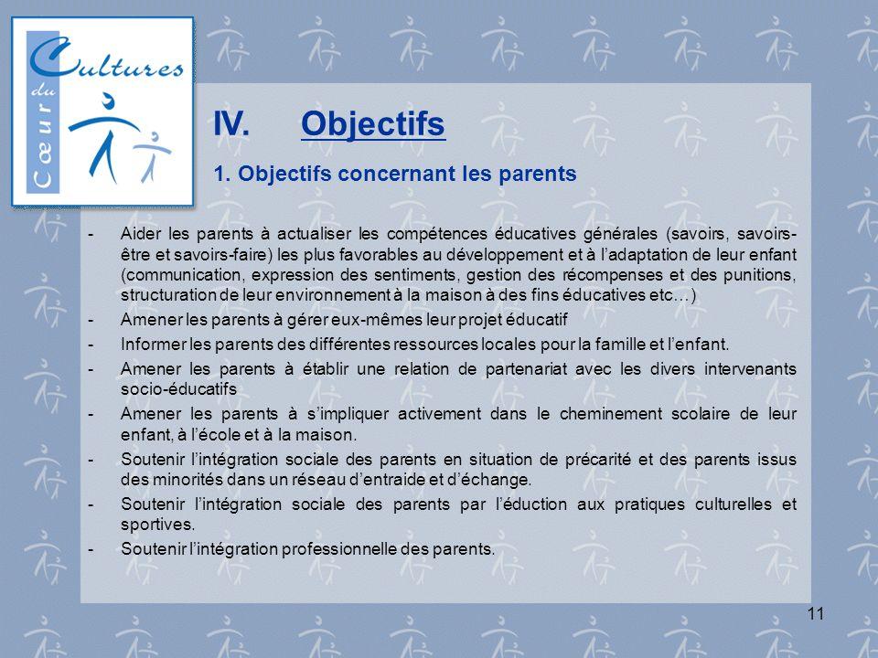 IV. Objectifs 1. Objectifs concernant les parents