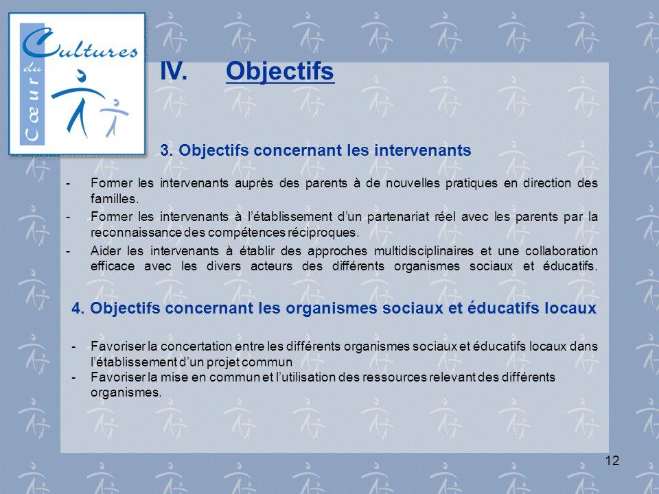 IV. Objectifs 3. Objectifs concernant les intervenants