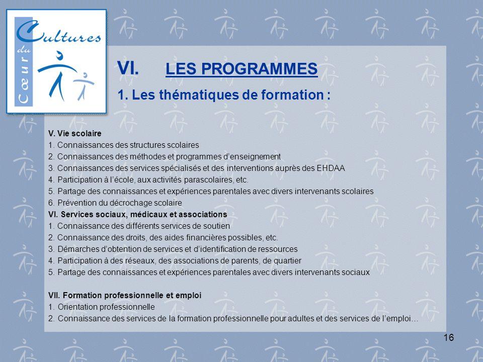 VI. LES PROGRAMMES 1. Les thématiques de formation :