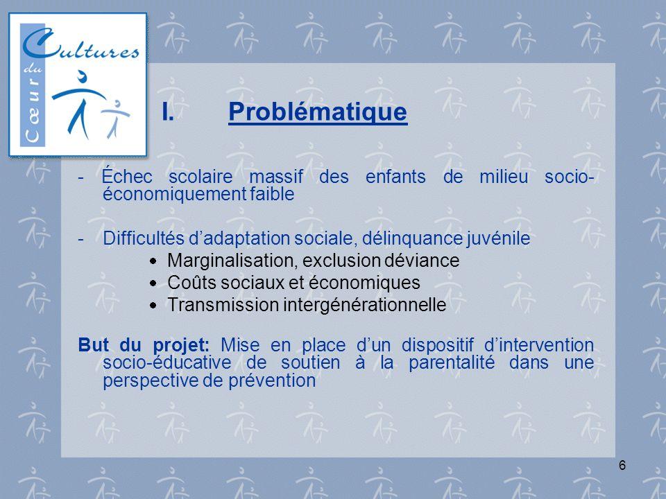 I. Problématique- Échec scolaire massif des enfants de milieu socio-économiquement faible. - Difficultés d'adaptation sociale, délinquance juvénile.
