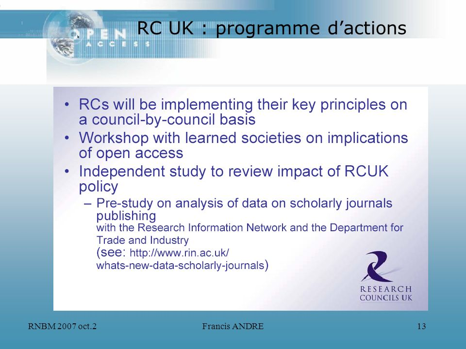 RC UK : programme d'actions