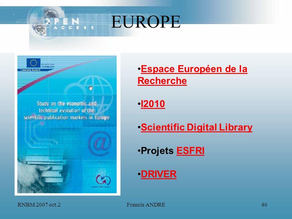 EUROPE Espace Européen de la Recherche I2010