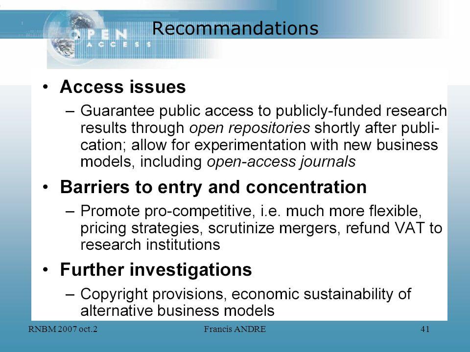 Recommandations RNBM 2007 oct.2 Francis ANDRE