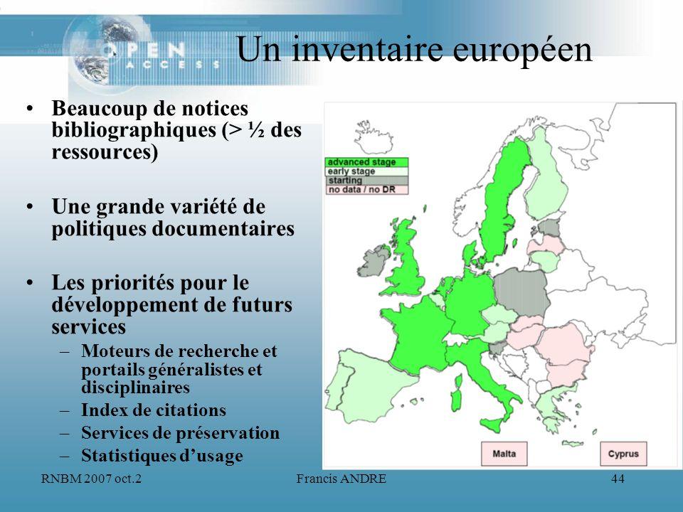 Un inventaire européen