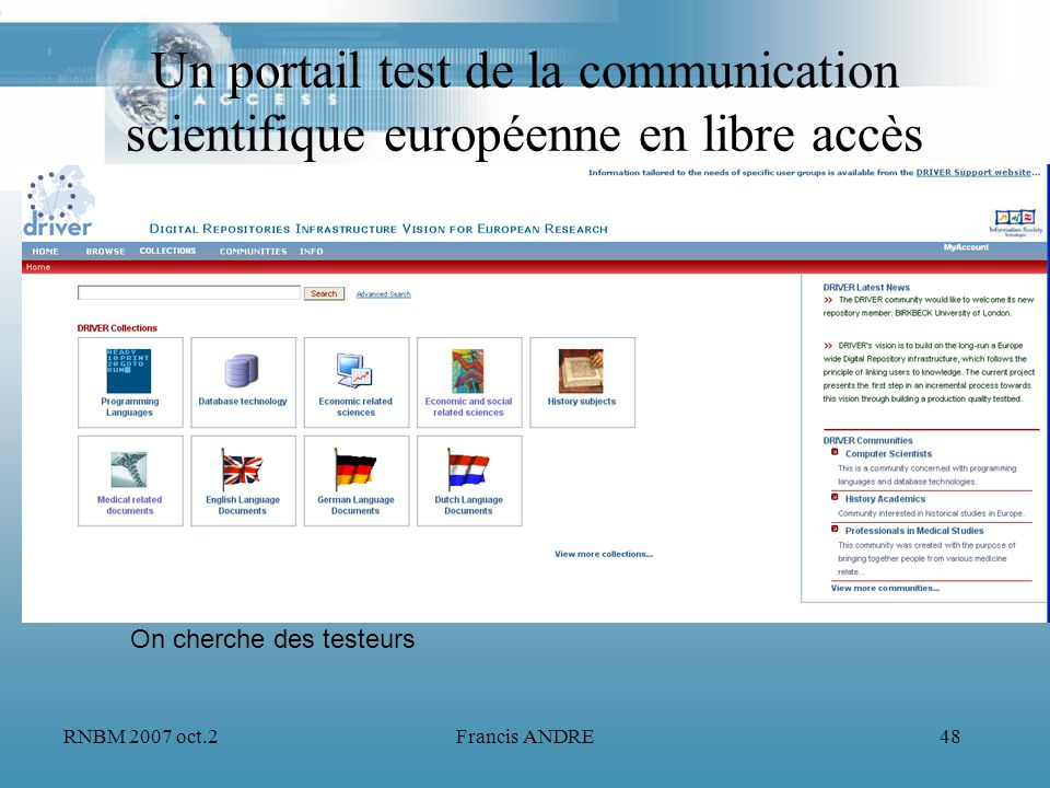 Un portail test de la communication scientifique européenne en libre accès