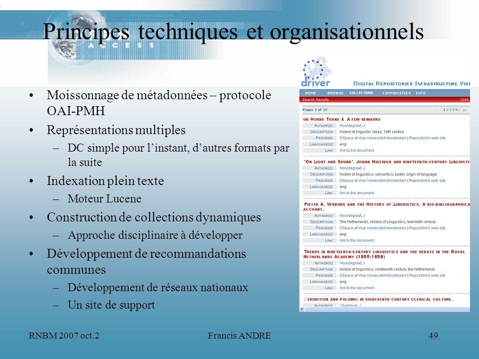 Principes techniques et organisationnels
