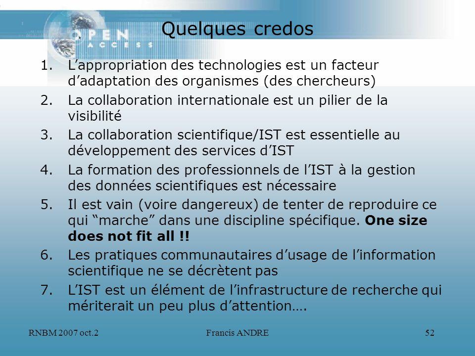 Quelques credos L'appropriation des technologies est un facteur d'adaptation des organismes (des chercheurs)