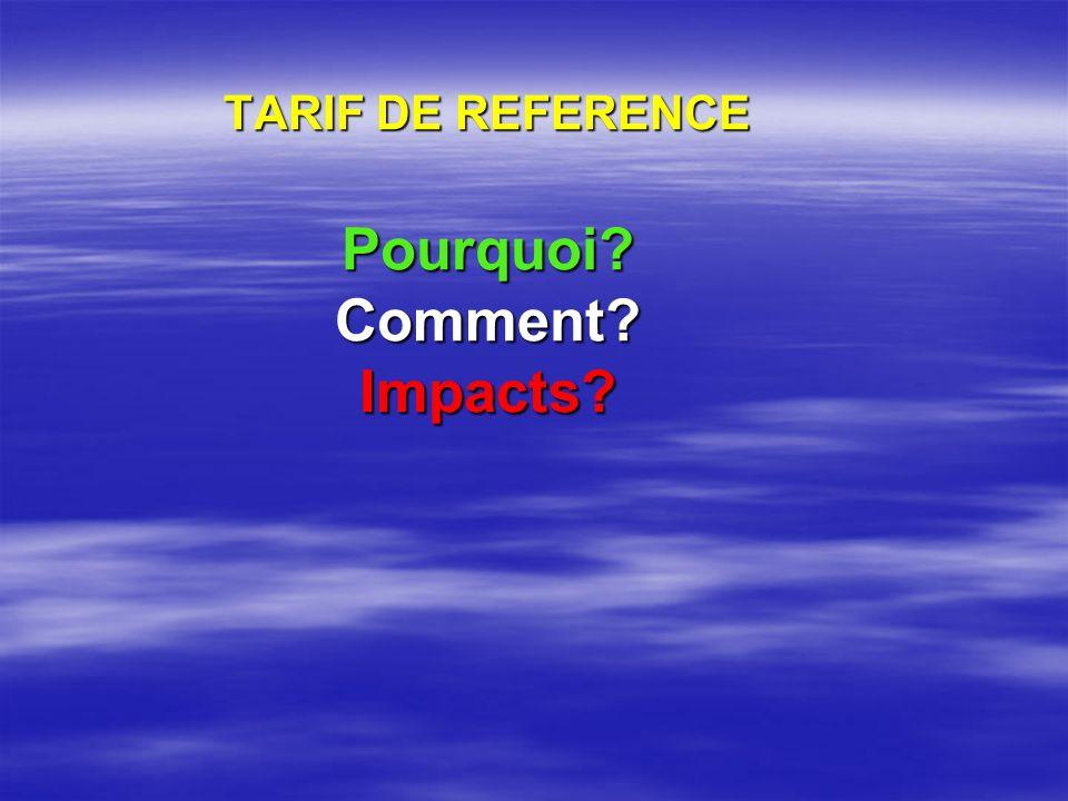 TARIF DE REFERENCE Pourquoi Comment Impacts