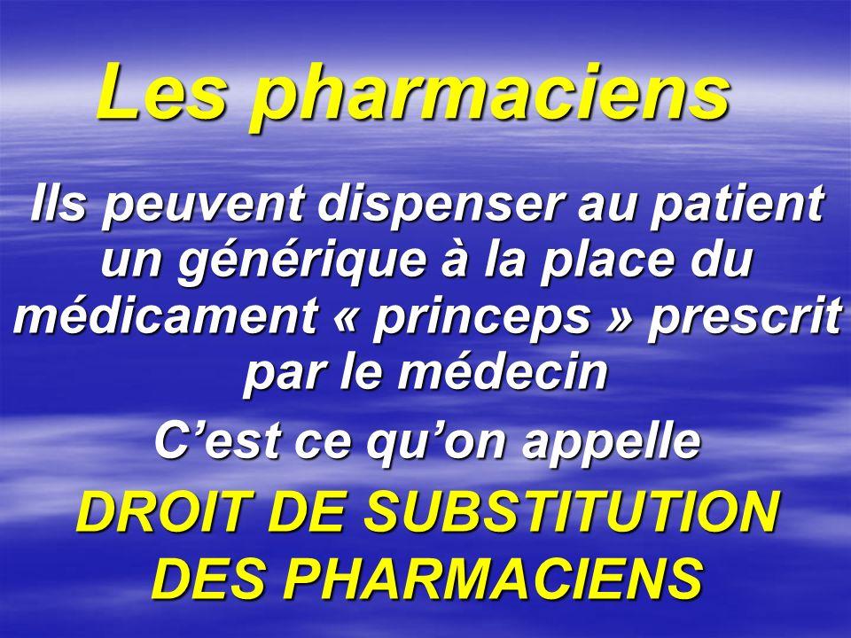 DROIT DE SUBSTITUTION DES PHARMACIENS