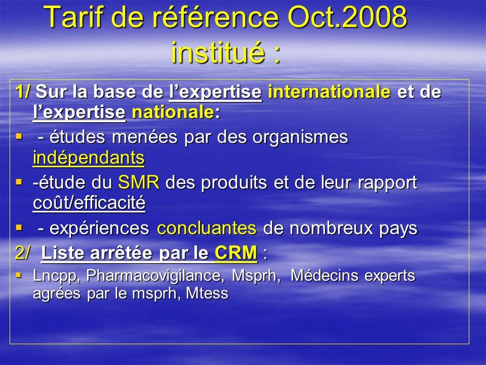 Tarif de référence Oct.2008 institué :