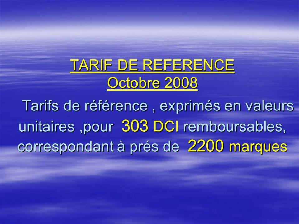 TARIF DE REFERENCE Octobre 2008 Tarifs de référence , exprimés en valeurs unitaires ,pour 303 DCI remboursables, correspondant à prés de 2200 marques