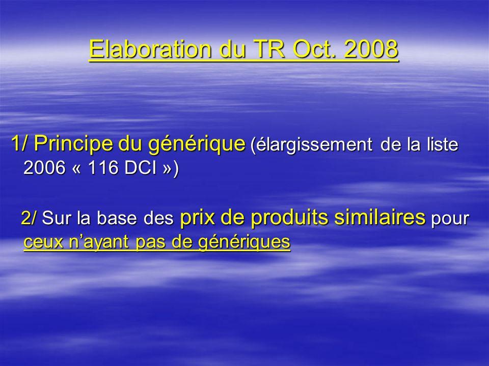 Elaboration du TR Oct. 2008 1/ Principe du générique (élargissement de la liste 2006 « 116 DCI »)