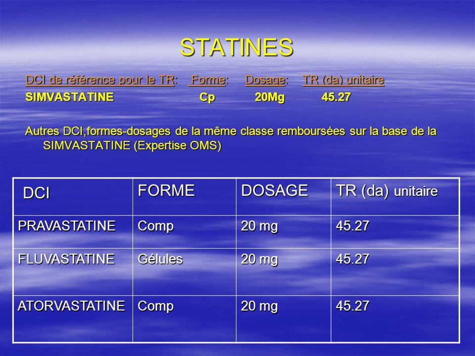 STATINES DCI FORME DOSAGE TR (da) unitaire PRAVASTATINE Comp 20 mg