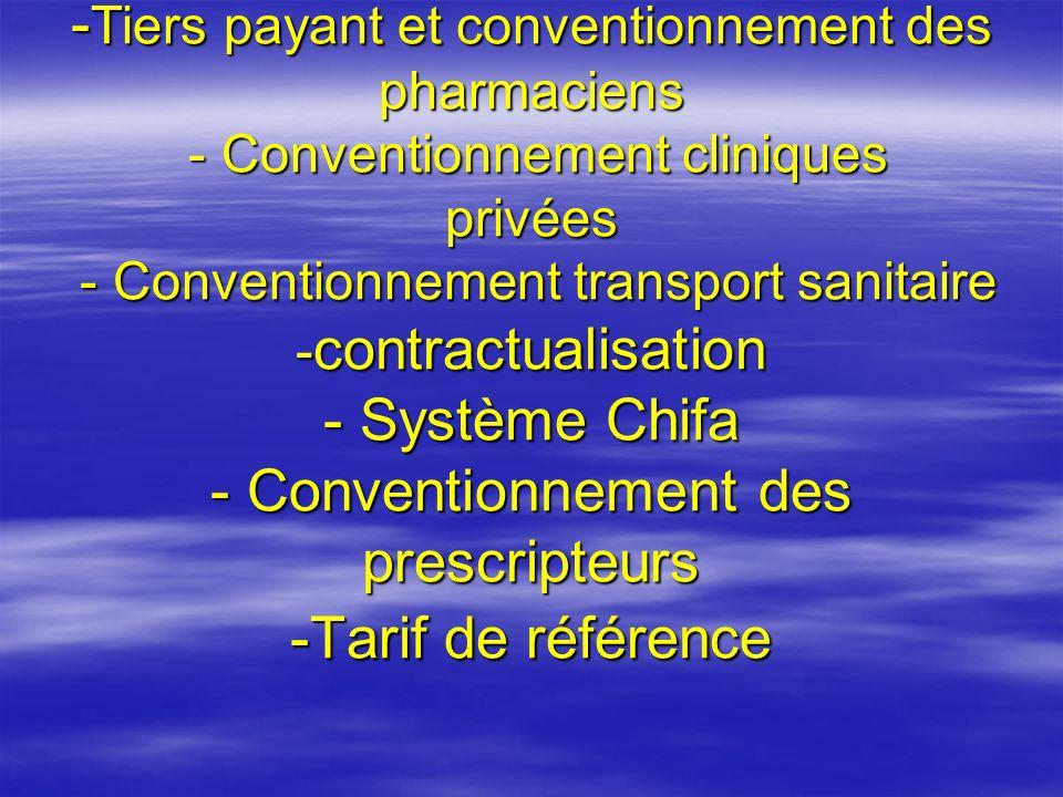 -Tiers payant et conventionnement des pharmaciens - Conventionnement cliniques privées - Conventionnement transport sanitaire -contractualisation - Système Chifa - Conventionnement des prescripteurs -Tarif de référence