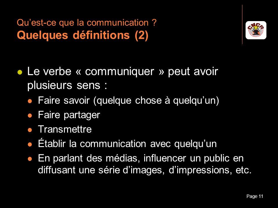Qu'est-ce que la communication Quelques définitions (2)