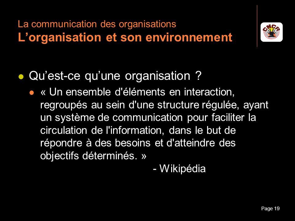 La communication des organisations L'organisation et son environnement