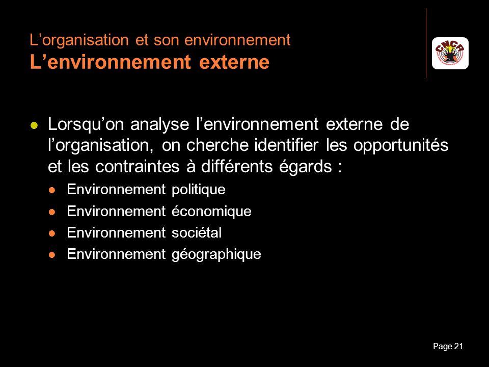 L'organisation et son environnement L'environnement externe