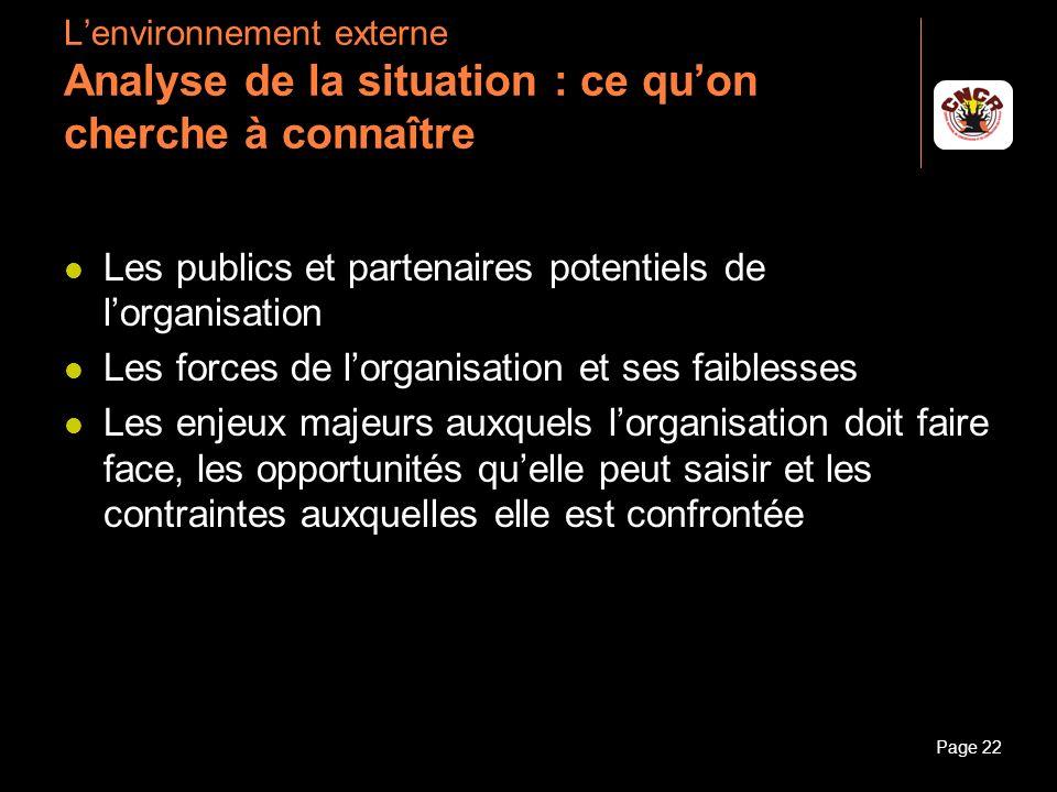 Les publics et partenaires potentiels de l'organisation