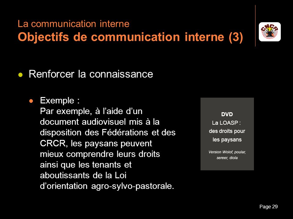 La communication interne Objectifs de communication interne (3)