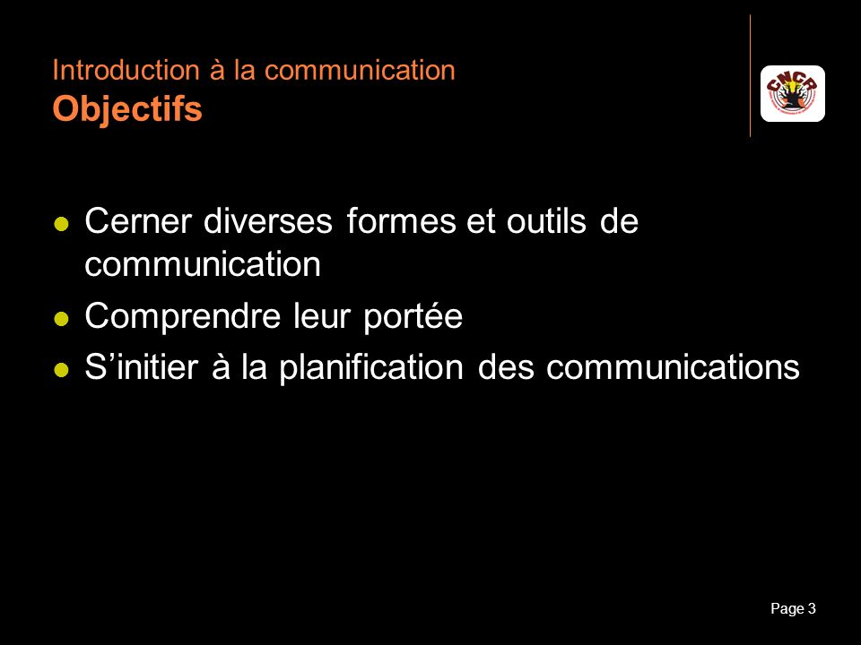 Introduction à la communication Objectifs