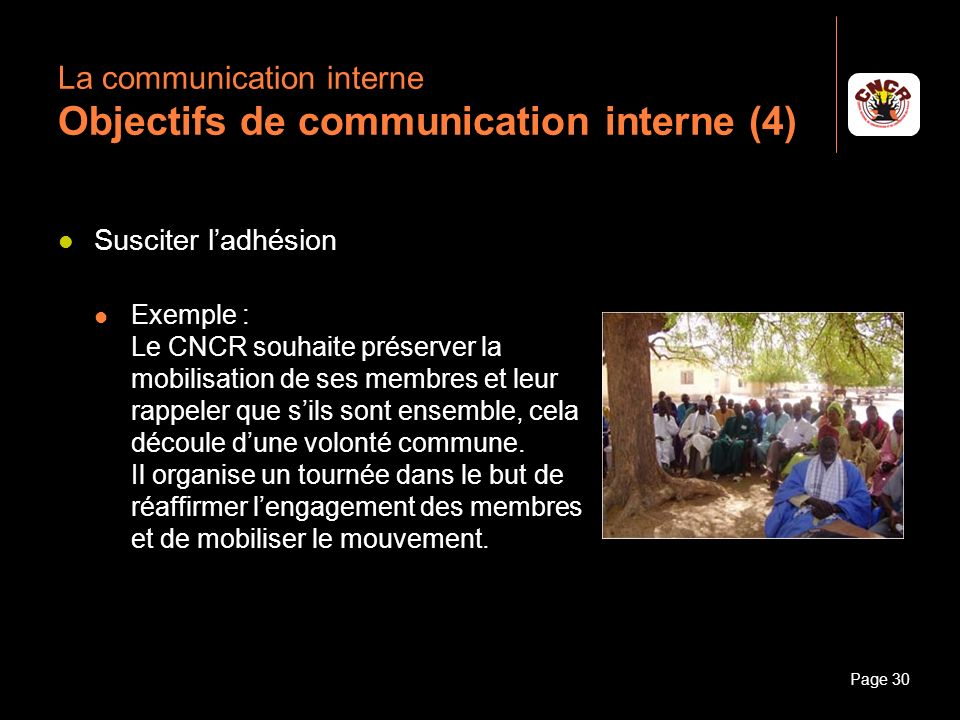 La communication interne Objectifs de communication interne (4)