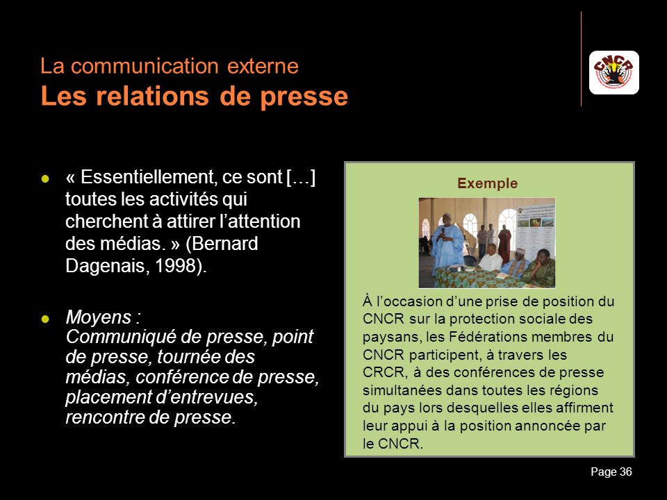La communication externe Les relations de presse
