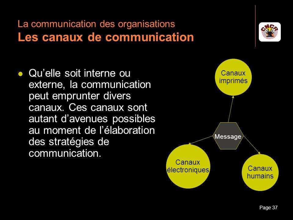 La communication des organisations Les canaux de communication
