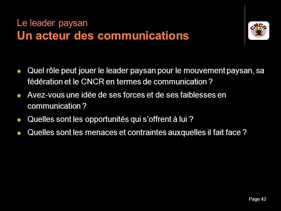 Le leader paysan Un acteur des communications