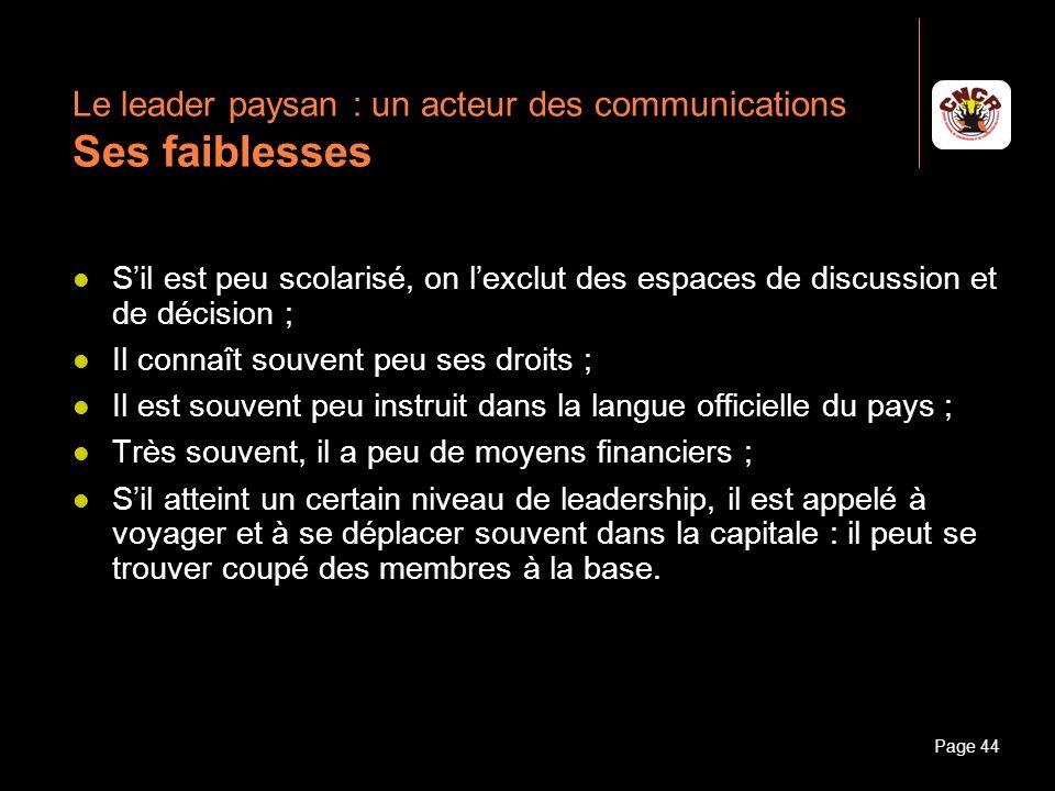 Le leader paysan : un acteur des communications Ses faiblesses