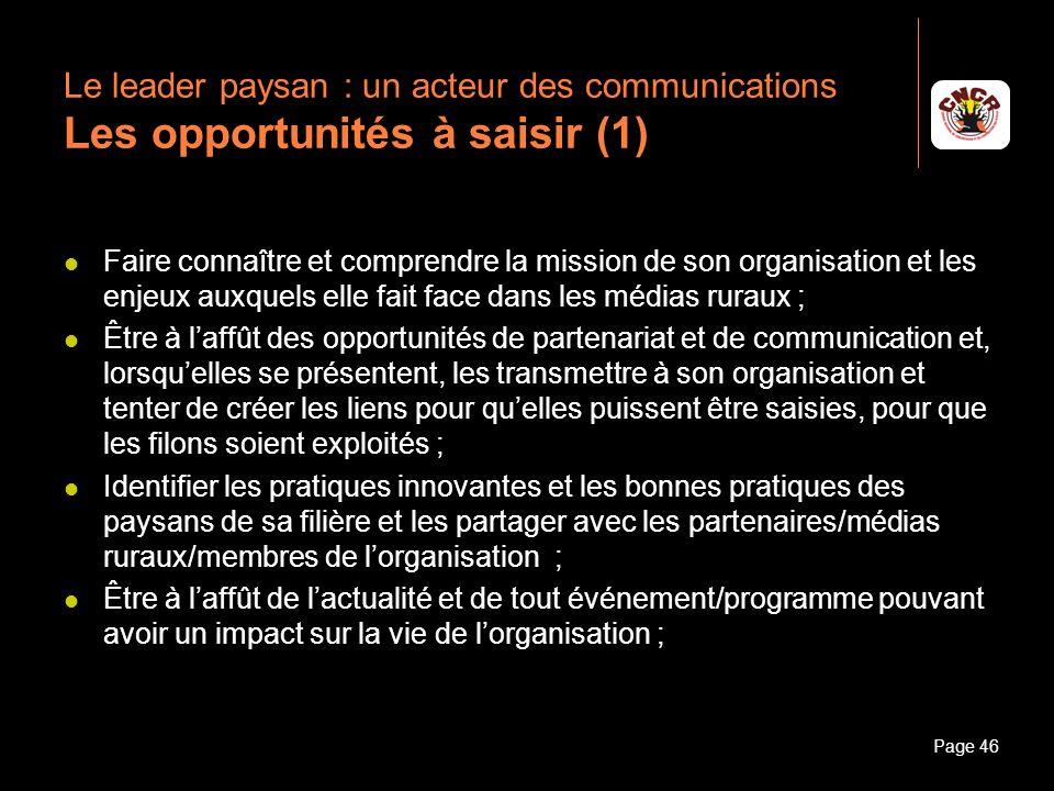 Le leader paysan : un acteur des communications Les opportunités à saisir (1)