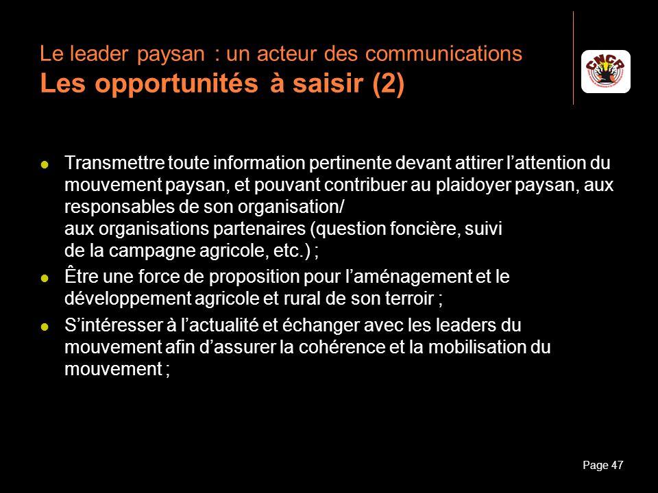 Le leader paysan : un acteur des communications Les opportunités à saisir (2)