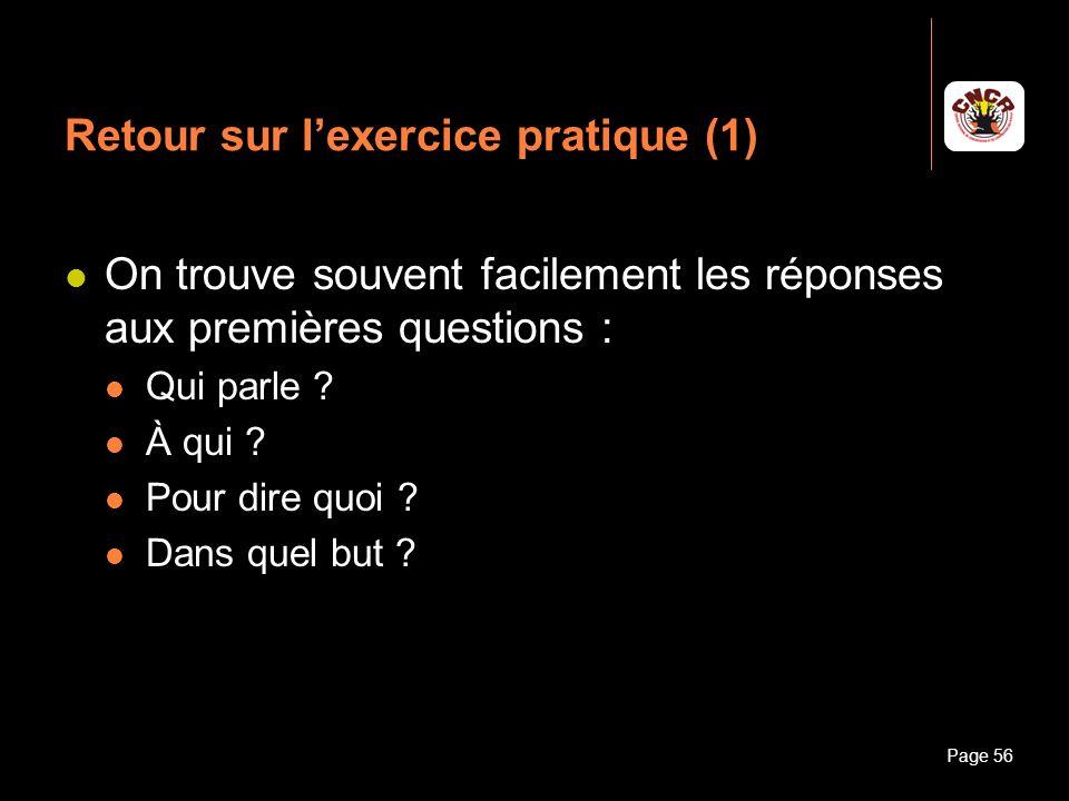 Retour sur l'exercice pratique (1)