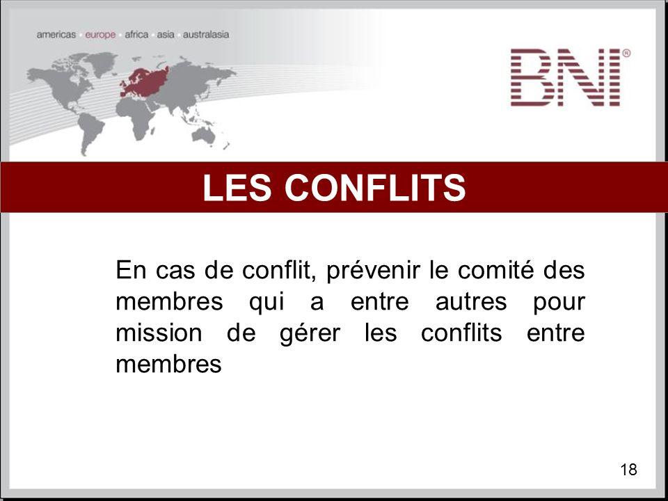 LES CONFLITS En cas de conflit, prévenir le comité des membres qui a entre autres pour mission de gérer les conflits entre membres.